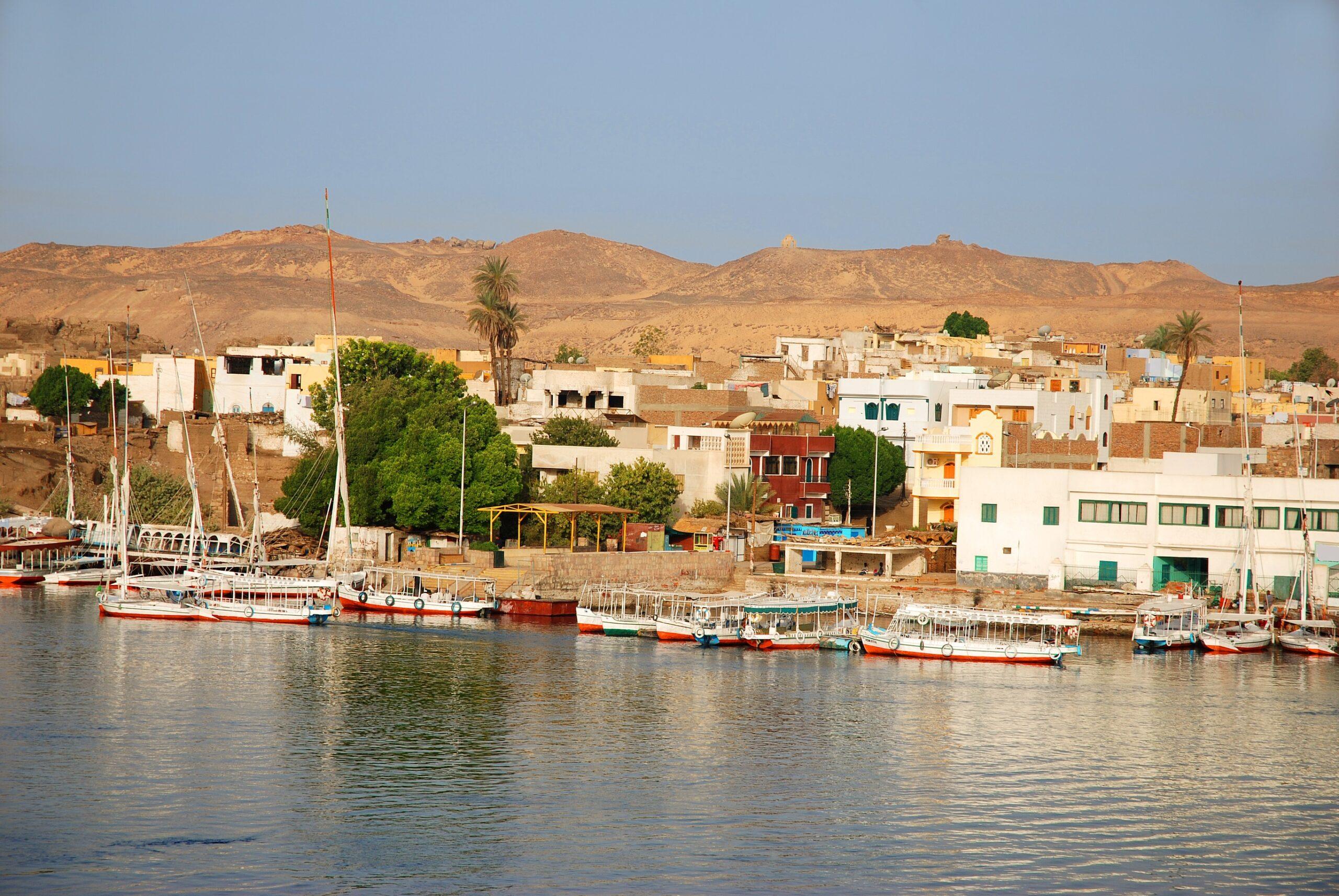 Banks of Nile river in Aswan, Egypt